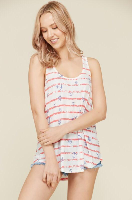 Marine Stripes Anchor Print Tank Top - Lasting Impressions CT