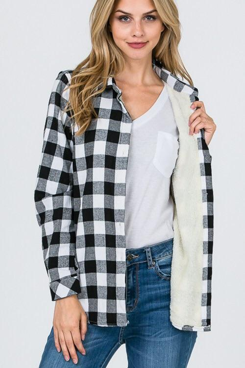 Long Sleeve Cozy Fur Lined Plaid Button Down Shirt - Lasting Impressions CT