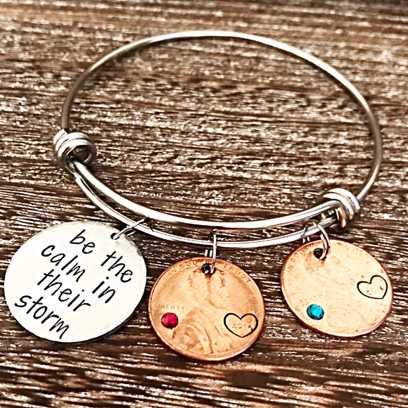 Be The Calm In Their Storm Daily Reminder Penny Bracelet for Mom - Lasting Impressions CT