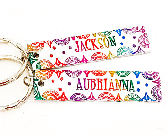 Rainbow Colored Hand Stamped Word or Name Keychain