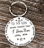 To My Son Hand Stamped Personalized Keychain for Son From Mom - Lasting Impressions CT
