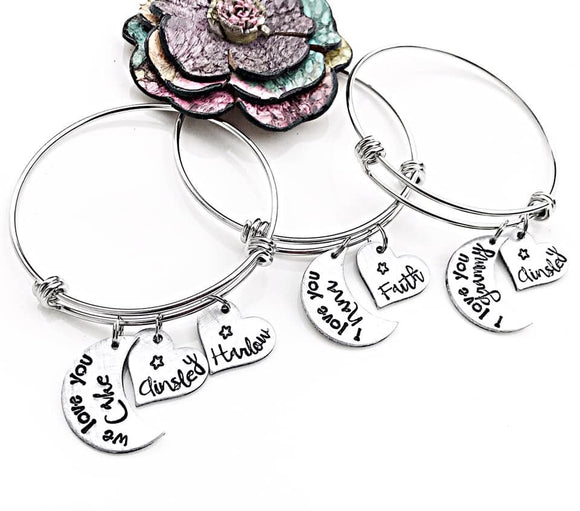 Grammy Moon Heart and Star Personalized Charm Bracelet