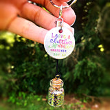 Leave A Little Sparkle Wherever You Go - Glitter Bottle Keychain Rear View Mirror or Locker Accessory Magnet - Lasting Impressions CT