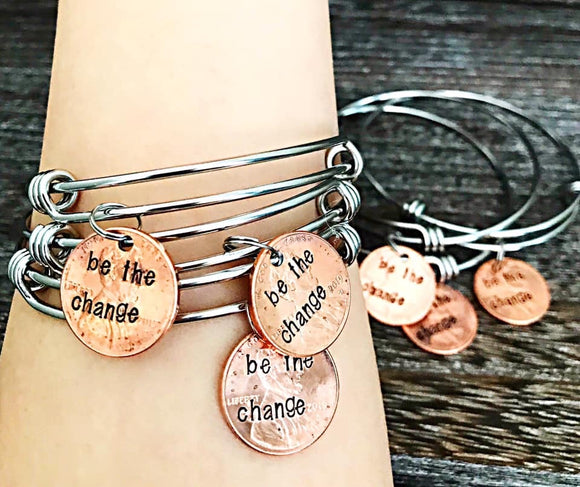 WHOLESALE be the change penny bangles - 8 pcs - Lasting Impressions CT