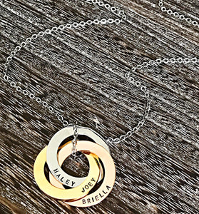 Rose gold, Gold, and Silver Stainless Steel Entwined Circle Necklace