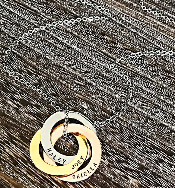 Rose gold, Gold, and Silver Stainless Steel Entwined Circle Necklace - Lasting Impressions CT