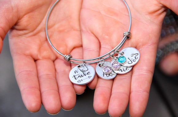 My Tribe Custom Bangle Bracelet for Mom, Kid's Name Bracelet, Birthstone Bangle, Gifts for Mom - Lasting Impressions CT
