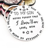 To My Son Hand Stamped Personalized Keychain for Son From Mom