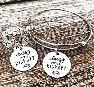 Classy Before Kickoff - Hand stamped Football Themed Jewelry Gifts