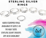 Sterling Silver Stacking Ring with Beaded Spacer Option - Mother's Name Rings - Lasting Impressions CT