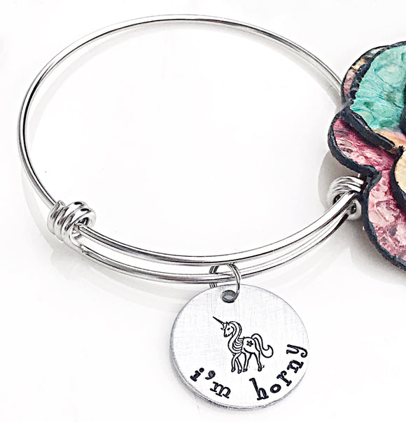 I'm Horny Hand Stamped Unicorn Bangle Charm Bracelet - Funny Gifts for Friends - Lasting Impressions CT