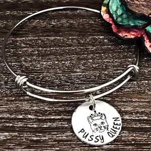 Pussy Queen Hand Stamped Bangle Bracelet - Lasting Impressions CT