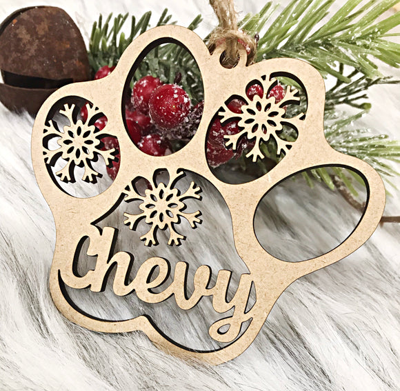 Paw Print Wood Ornament
