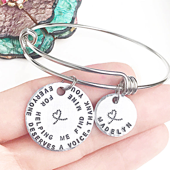 Speech Pathologist Bangle Charm Bracelet Gifts for Paras and Teachers - Lasting Impressions CT