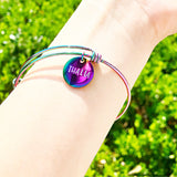 Rainbow Stainless Steel Hand Stamped Name Charm Bangle Bracelet Gifts for Her - Teen Graduation Girls