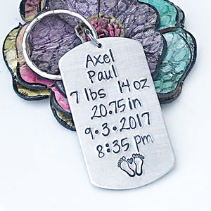 Personalized Baby Birth Stats Keychain-Gift for Dad - Lasting Impressions CT