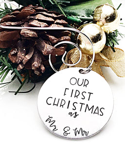 Our First Christmas as Mr and Mr Hand Stamped Custom Ornament - Gay Rights - LBGTQ