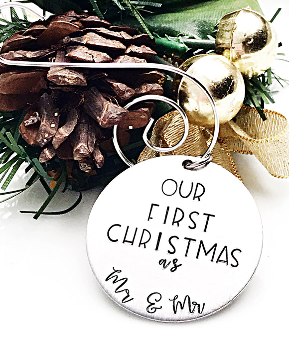 Our First Christmas as Mr and Mr Hand Stamped Custom Ornament - Gay Rights - LBGTQ - Lasting Impressions CT