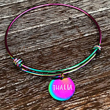 Rainbow Stainless Steel Hand Stamped Name Charm Bangle Bracelet Gifts for Her - Teen Graduation Girls - Lasting Impressions CT