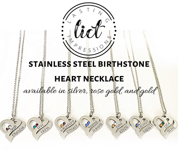 Stainless Steel Birthstone Heart with Two Stamped Names and Stones - Available in Gold, Rose Gold, and Silver