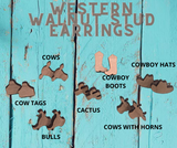 Western Walnut Wood Earring Studs