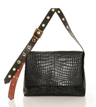 CARBOTTI Carena 113 Italian Croc Printed Leather Shoulder Handbag- Black