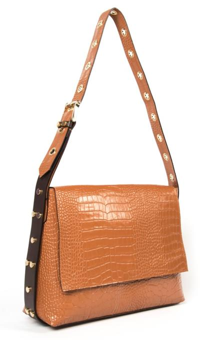 CARBOTTI Carena 113 Italian Croc Printed Leather Shoulder Handbag- Tan