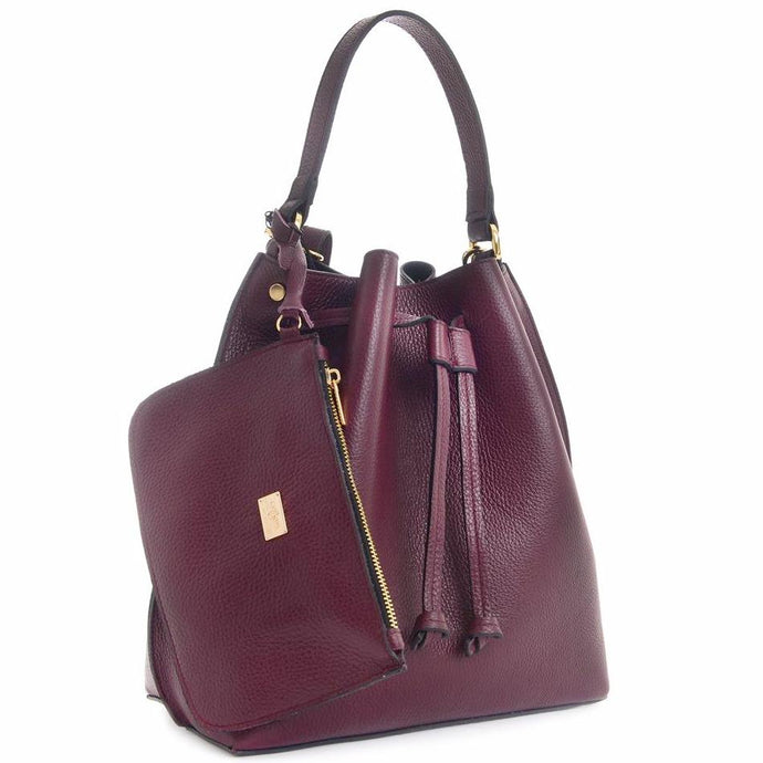 CARBOTTI 412 Italian Leather Shoulder Handbag with Accessory Pouch - Burgundy
