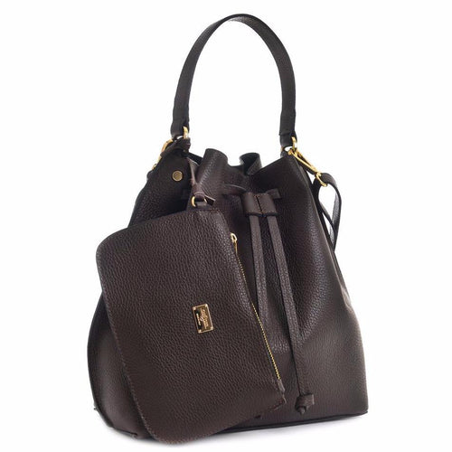 CARBOTTI 412 Italian Leather Shoulder Handbag with Accessory Pouch - Dark Brown