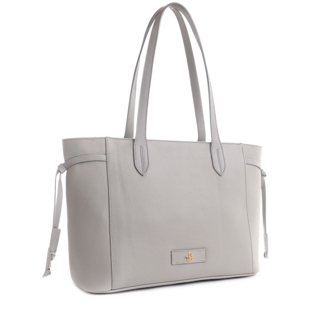 CARBOTTI Italian Leather Shoulder Handbag Maria 1516- Light Gray