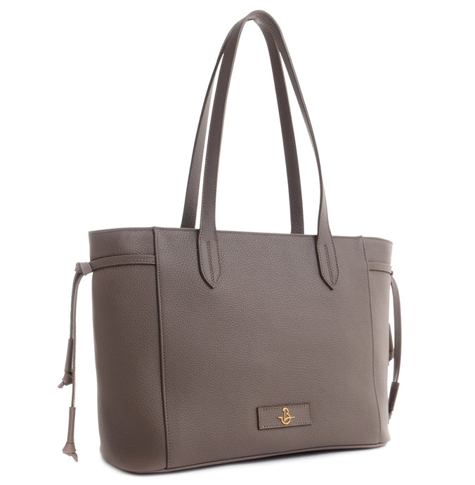 CARBOTTI Italian Leather Shoulder Handbag Maria 1516- Taupe