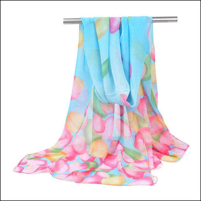 Chiffon Leaf Scarf - Light Blue