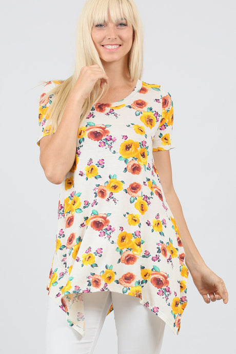 Oatmeal Yellow Floral Linen Blend Shark Hem Swing Top