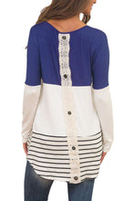 Blue Color Block Lace Patch Long Sleeve Tunic Top
