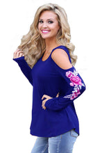 Blue Embroidered Rose Long Sleeve Cold Shoulder Top