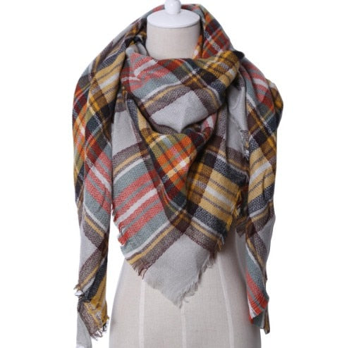 Fall Winter Plaid Acrylic Triangle Scarf - Multicolor with Brown and Yellow