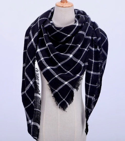 Fall Winter Plaid Acrylic Triangle Scarf - Black and White