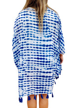 White and Blue Tie Dye Print Tassel Kimono Beach Cover-up