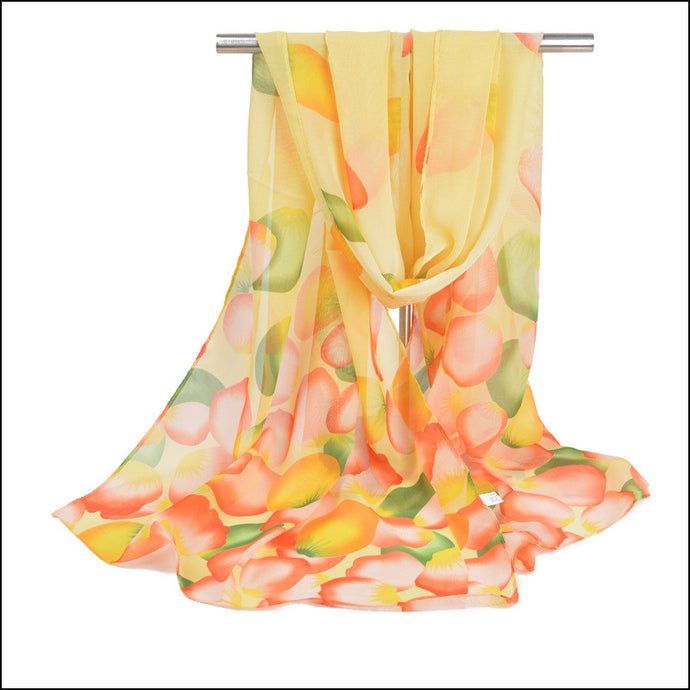 Chiffon Leaf Scarf - Yellow