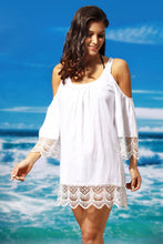 White Crochet Lace Crinkle Cold Shoulder Beach Cover Up