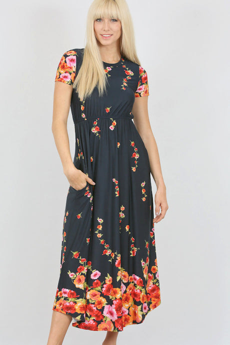 Navy Floral Elastic Waist Short Sleeve Knit Pocket Dress