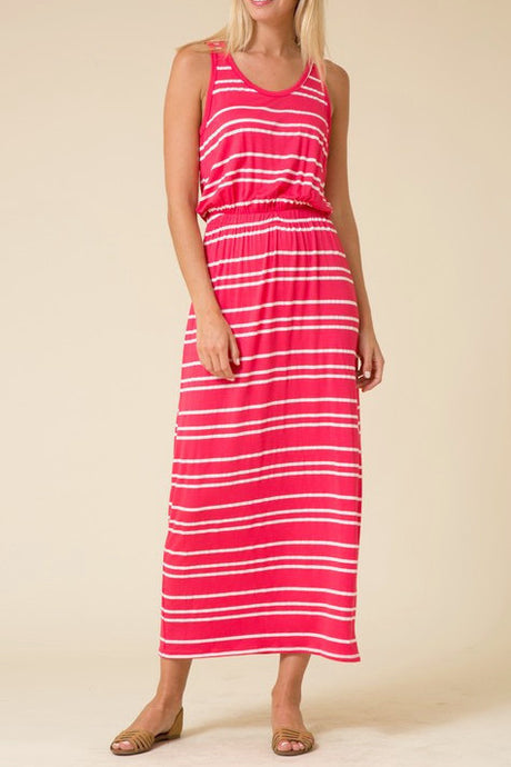 Pink Striped Print Stretch Waistband Slit Maxi Dress
