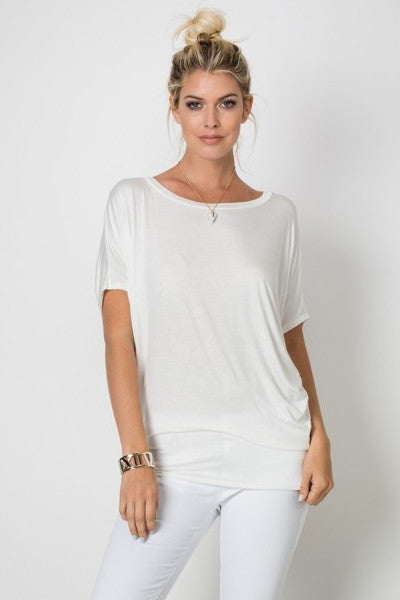 Off White Boat Neck Fitted Waist Dolman Sleeve Top