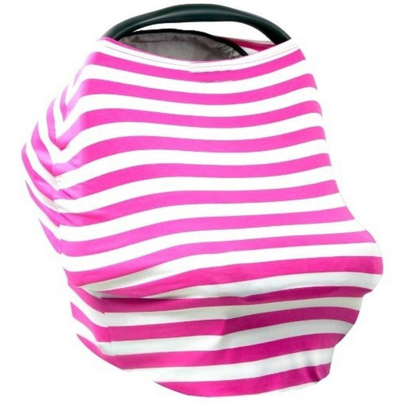 Multi Use Baby Nursing Scarf, Car Seat Canopy Cover- Pink stripes