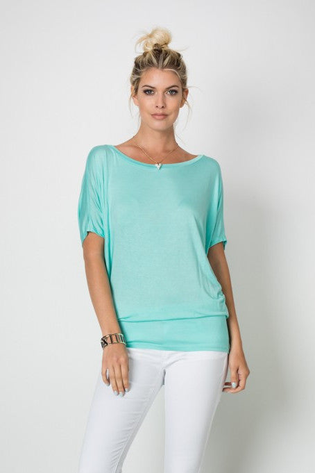Mint Boat Neck Fitted Waist Dolman Sleeve Top