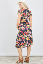 Short Sleeve Floral Knit Pocket Dress- Navy