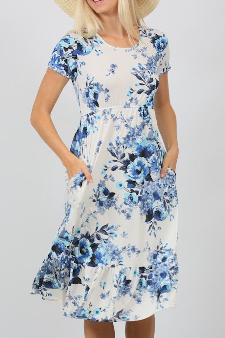 Ivory Blue Floral Elastic Waist Short Sleeve Knit Pocket Dress