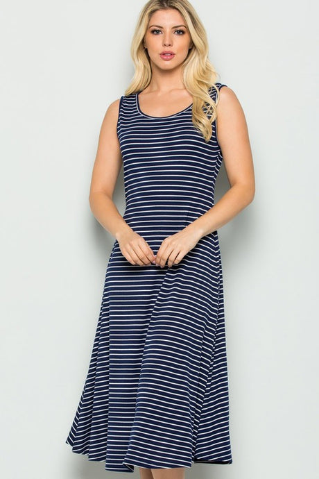 A-Line Casual Stretchy Knit Summer Tank Dress- Striped Navy