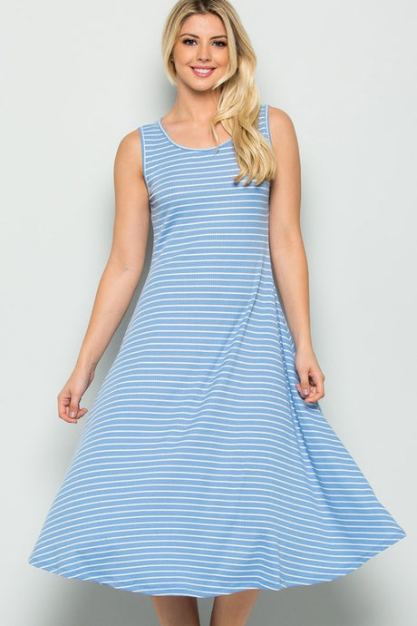 Striped Sky Blue Knit A-Line Stretchy Casual Tank Dress