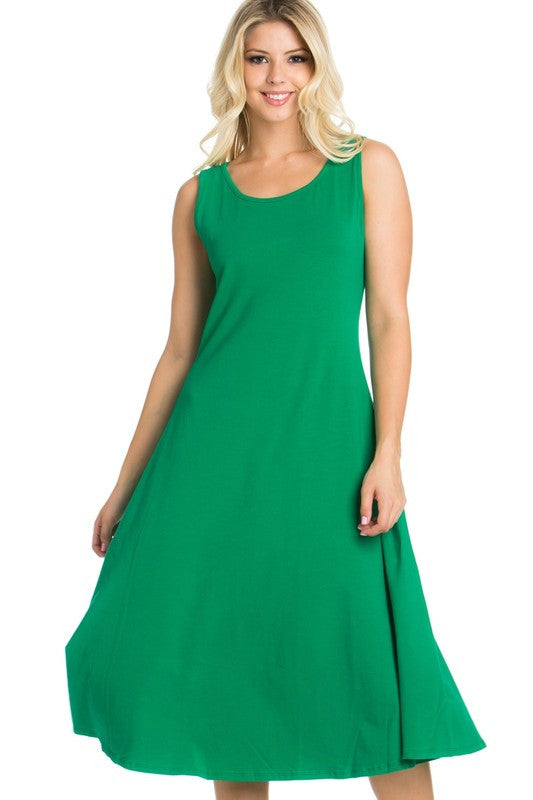 A-Line Stretchy Super Soft Casual Tank Dress - Green